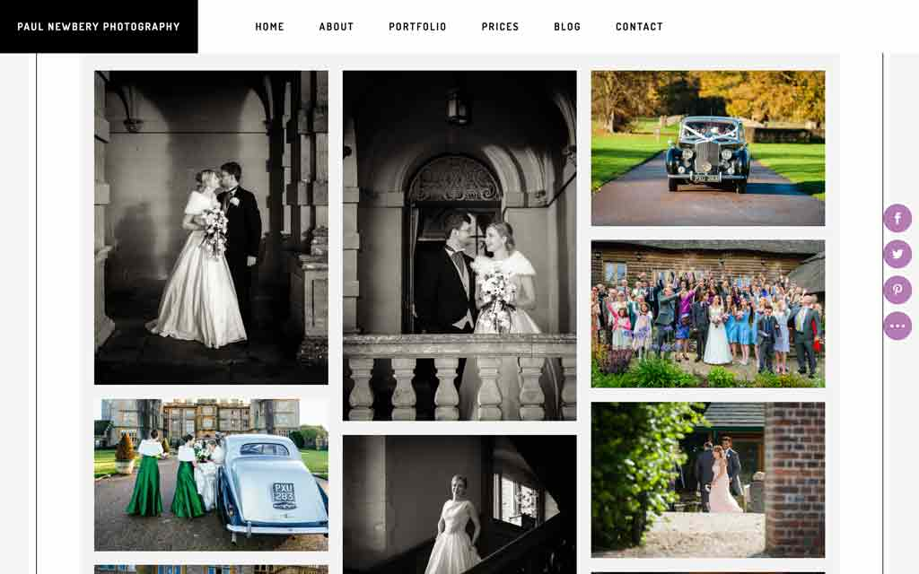 web page design portfolio section for paul newbery photography website