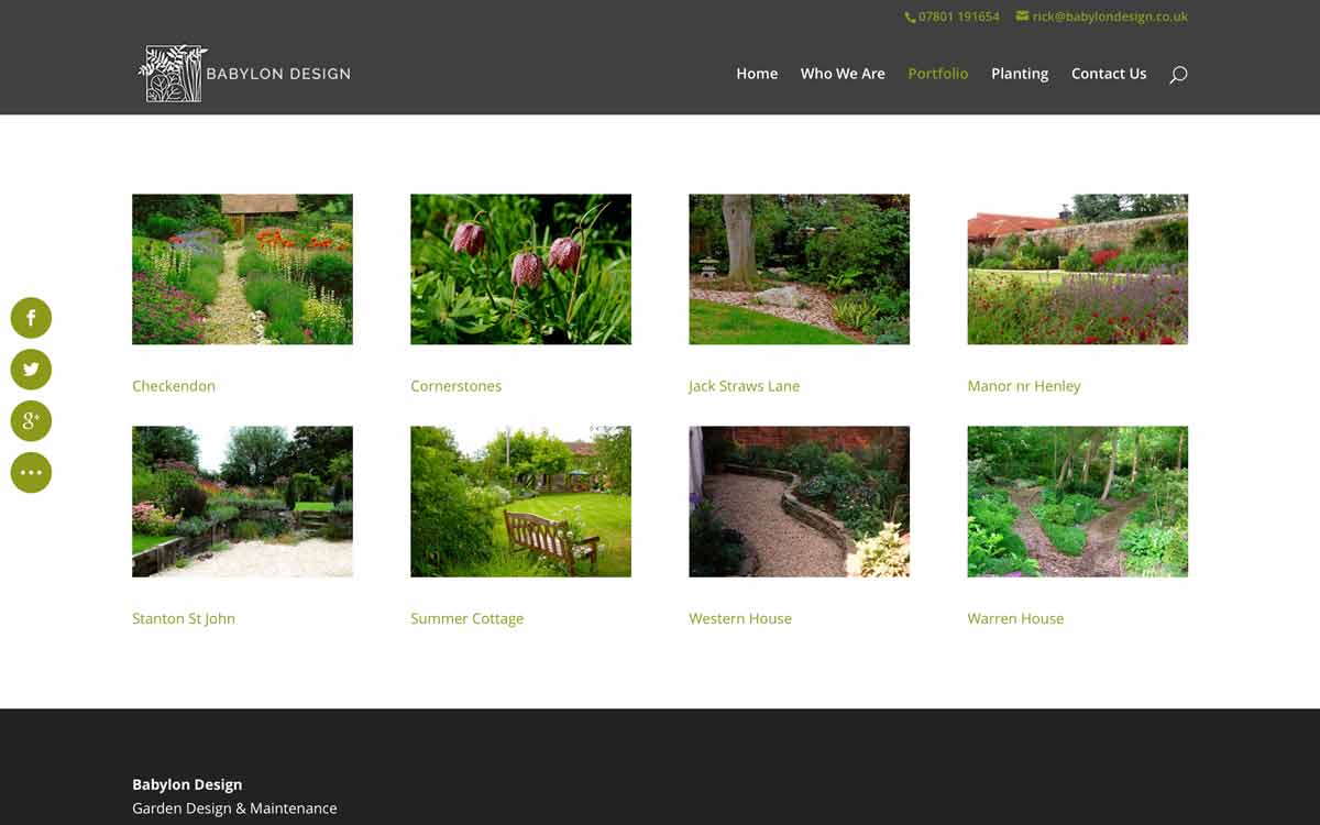 Website update. Website design update for Babylon Design Watlington Oxfordshire