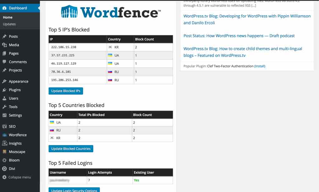 Wordfence WordPress security plugin in Action