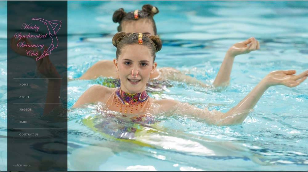 website design for henley synchronised swimming club