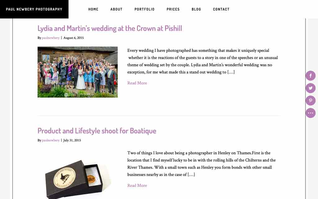 web page design the new portfolio section for paul newbery photography