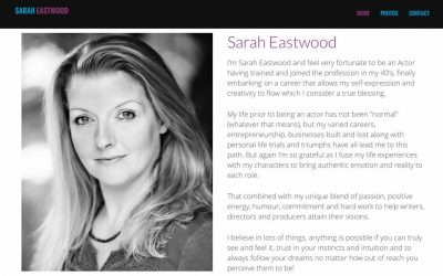 Sarah Eastwood one page website design.
