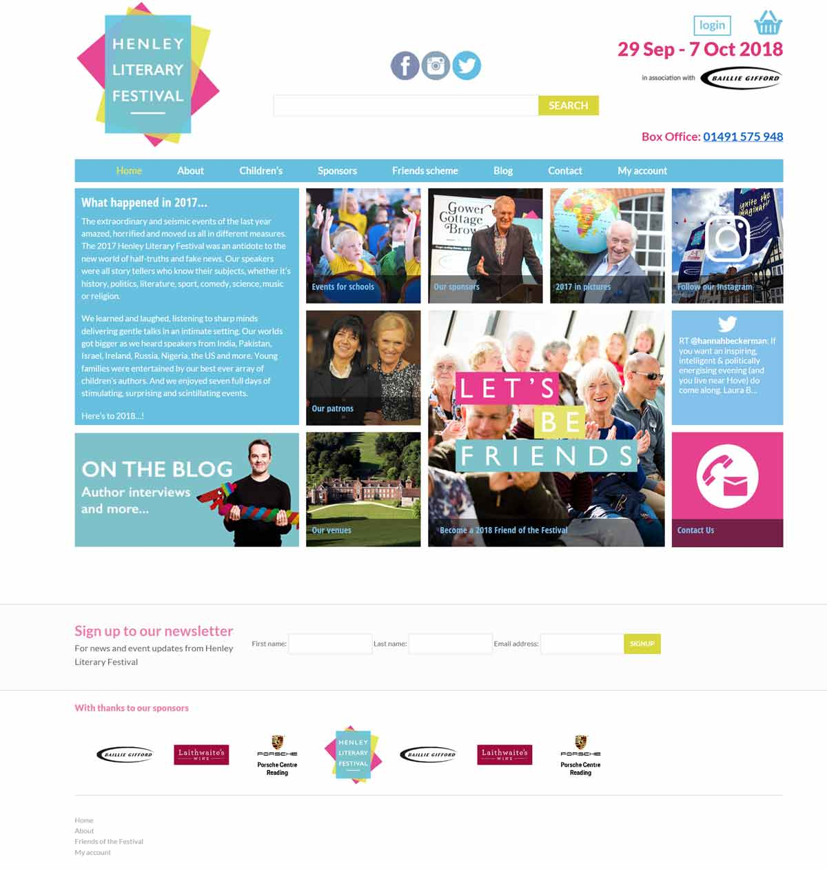 before screenshot web design refresh for henley literary festival