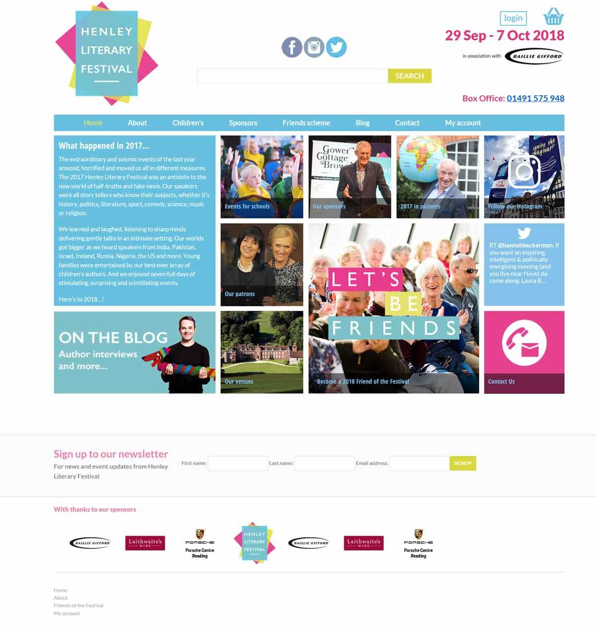 before screenshot web design refresh for henley literary festival
