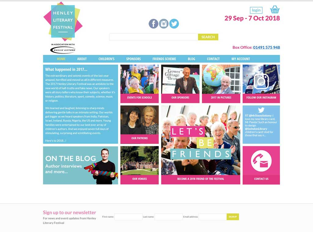 screen shot of web design refresh for henley literary festival