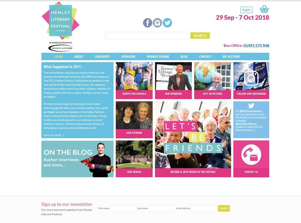 screen shot of web design refresh for henley literary festival