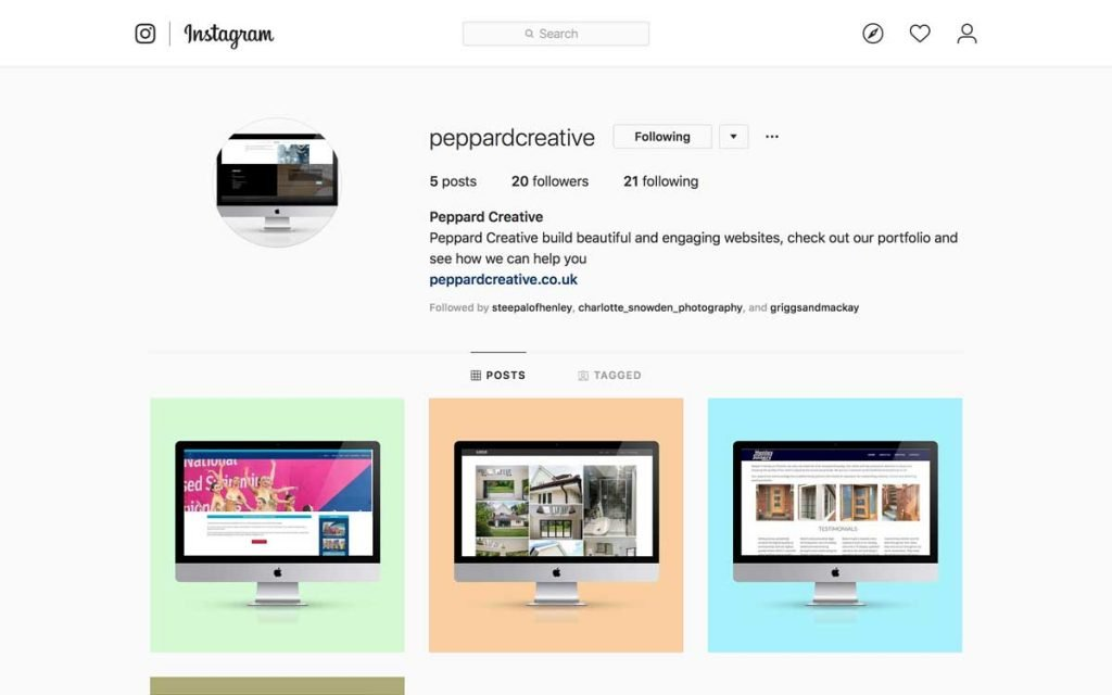 Our instagram feed featuring images of our Web design