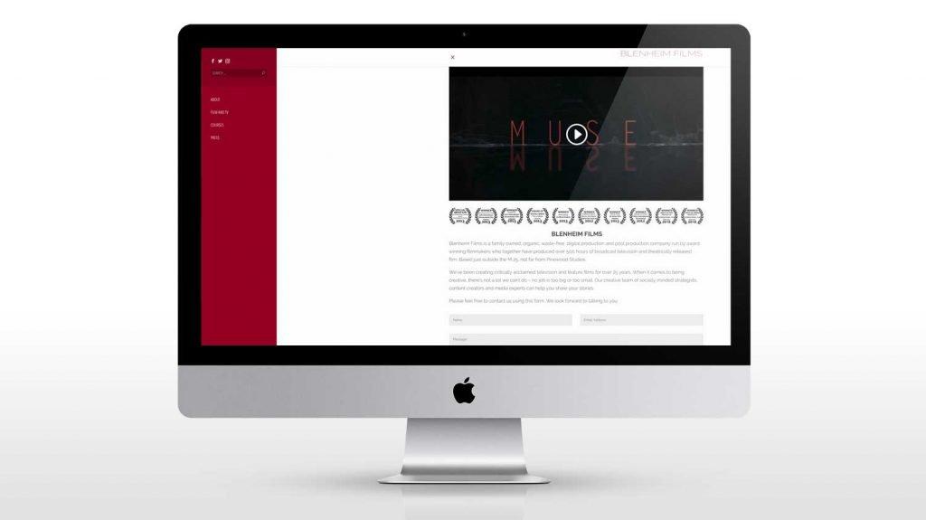 Blenheim Films Web design Front page