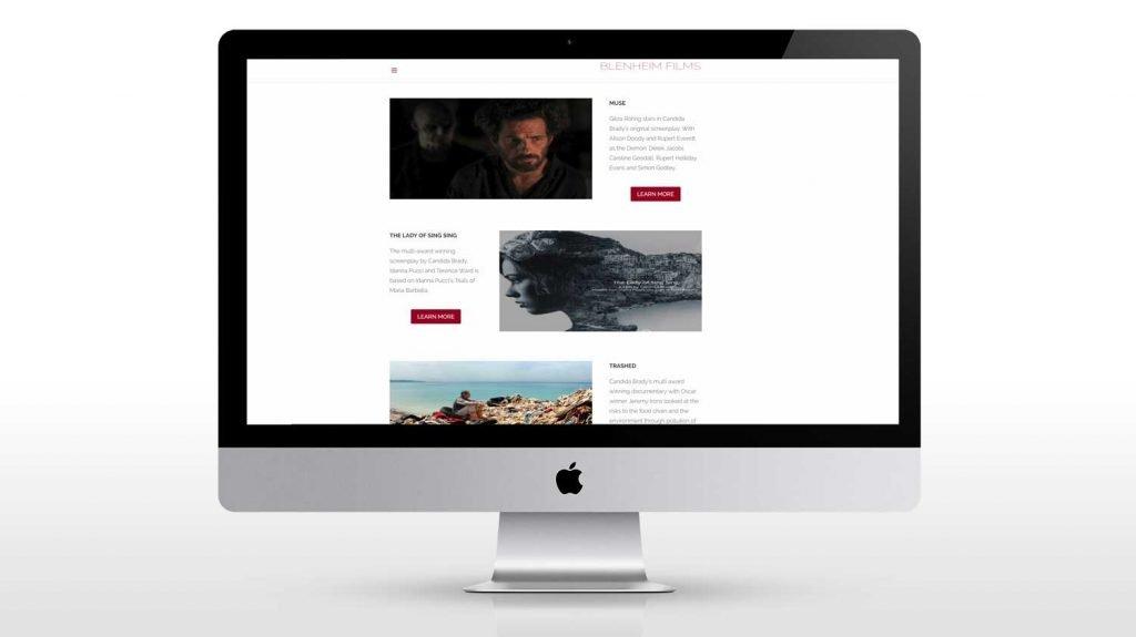 responsive Web design page for blenheim films