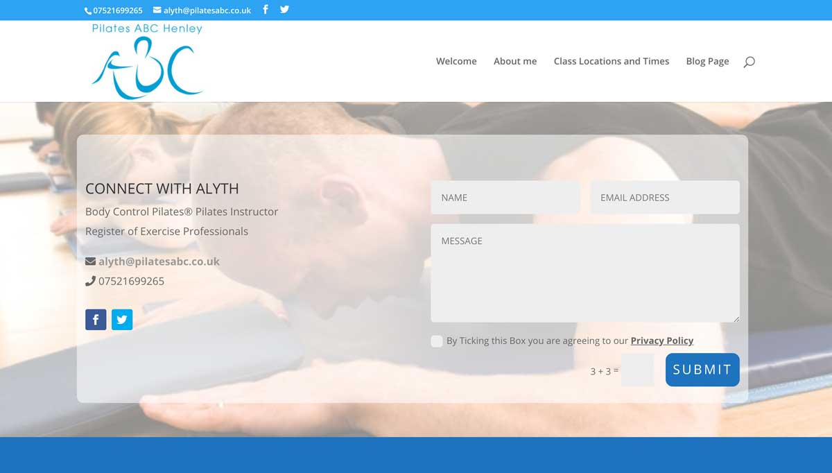 a screen shot of Pilates ABC's new contact page