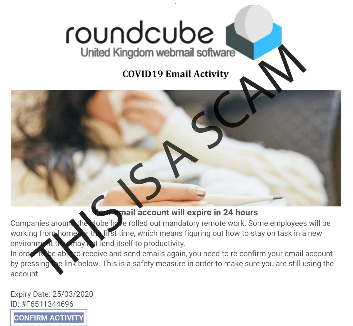 be aware of scam corvid 19 emails