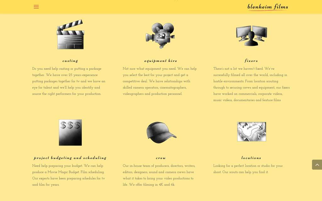 Blenheim films web design 1