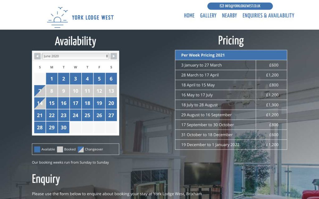 HTML pricing table on responsive web page design for York Lodge West