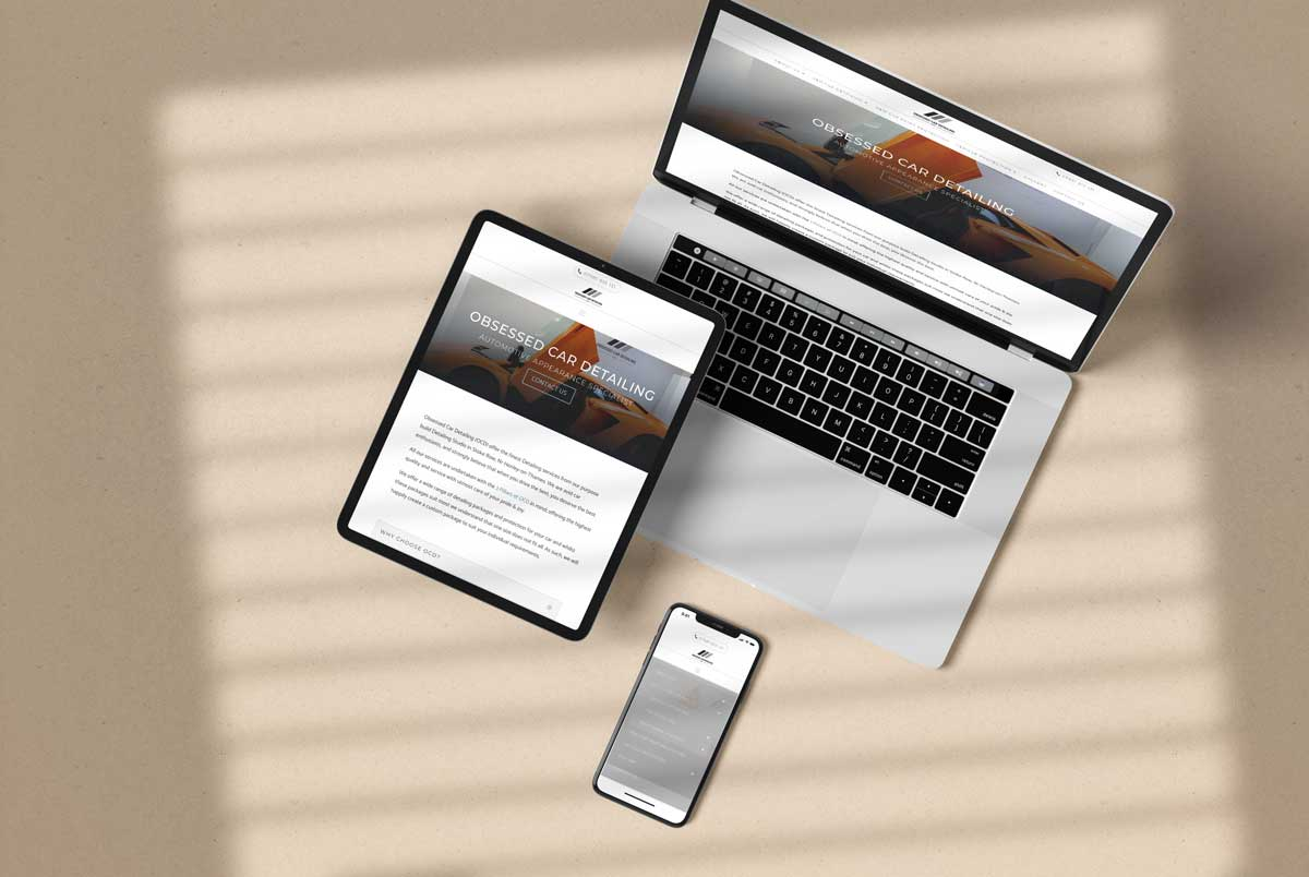 OCD Website design tablet, laptop and phone mockup image