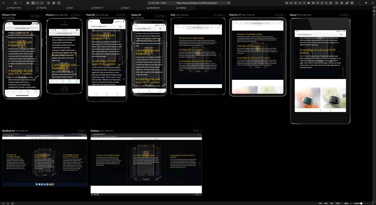 Mobile testing web design across multiple devices
