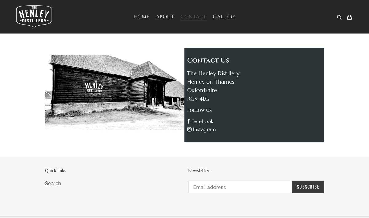 Henley Distillery contact webpage design