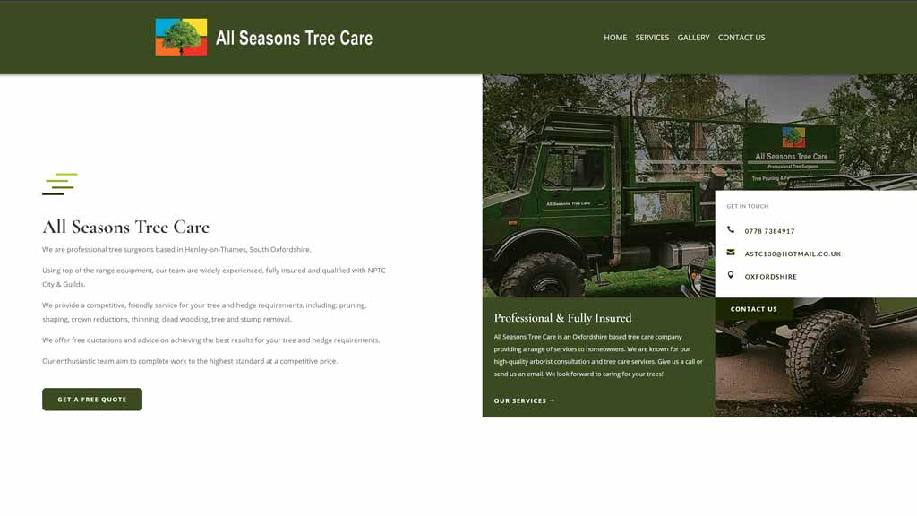 The new website for all seasons tree care